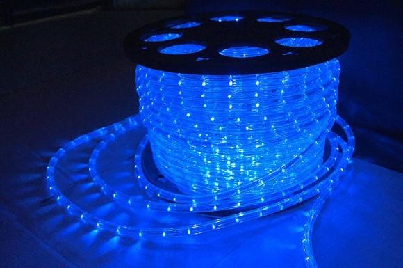 Дюралайт LED, постоянное свечение (2W) - синий, Ø10мм, бухта 100м