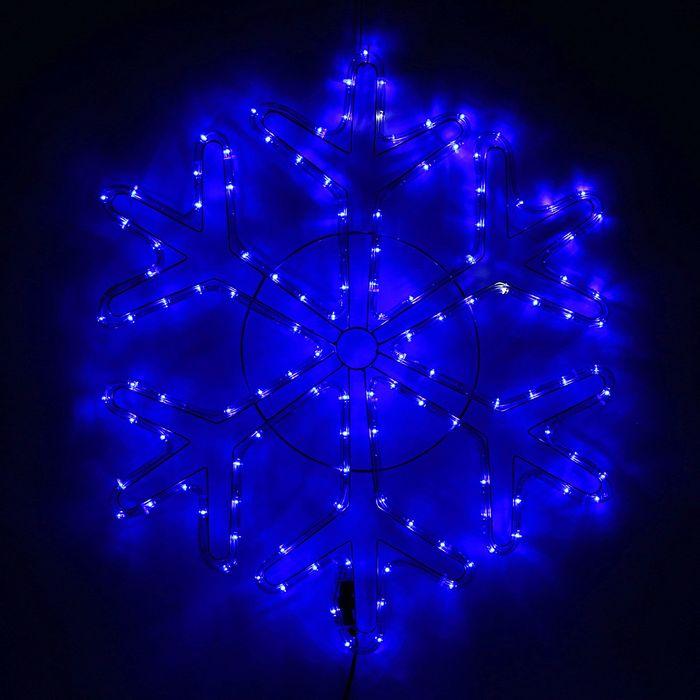 Снежинка дюралайт 69х69 см,144/24 LED,мерцание,220V СИНИЙ-БЕЛЫЙ