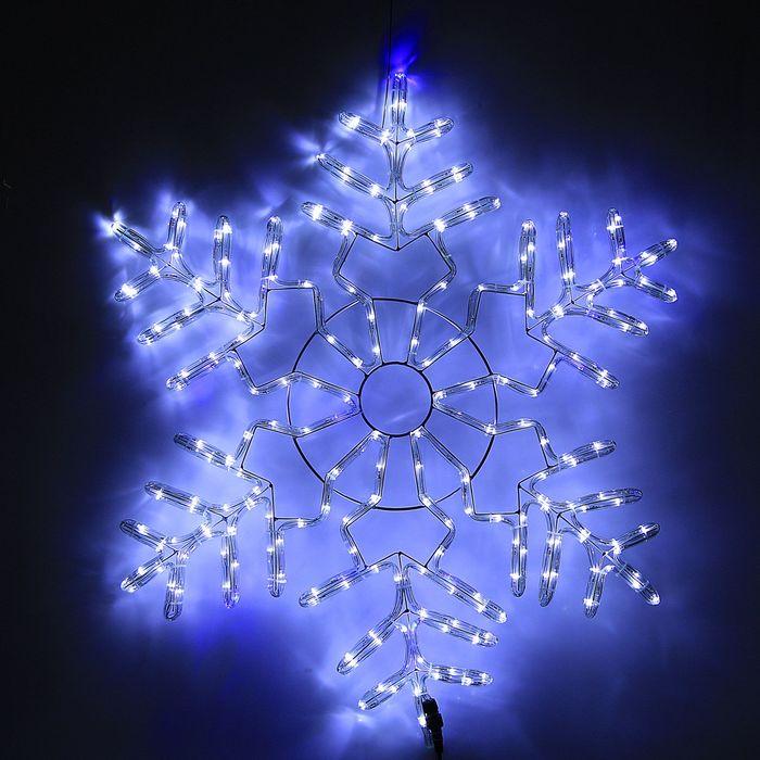 Снежинка дюралайт 85х85 см,264/44 LED,мерцание,220V БЕЛЫЙ-СИНИЙ