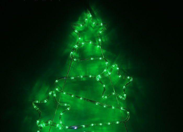 Елочка со звездами дюралайт 47х71 см,96/16 LED,мерцание,220V ЗЕЛЕНЫЙ-БЕЛЫЙ