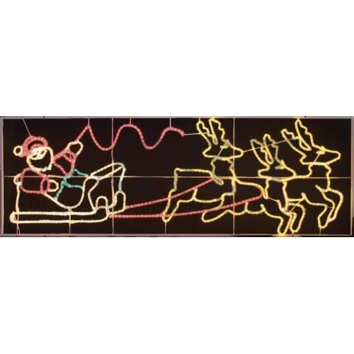 Фигура световая Олени везут Санта Клауса на санях