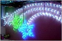 Мотив Три звезды из светодиодного дюралайта на металлическом каркасе. Высота 1,5х 0,7м Цвет: БЕЛО-СИНЕ-ЗЕЛЕНЫЙ
