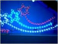 Мотив Три звезды из светодиодного дюралайта на металлическом каркасе. Высота 1,5х0,7м Цвет: БЕЛО-СИНЕ-КРАСНЫЙ