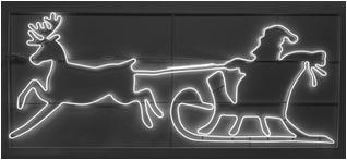Каркасный мотив Дед Мороз на санях с оленем, размер 2,90 м.*1,23 м., IP 65, цвет БЕЛЫЙ