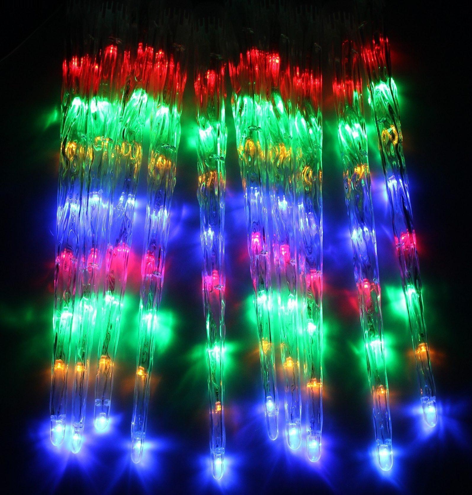 Гирлянда 2,4 м с насад. Сосульки рифленые малые 50 см, LED-64-220V, контр.8 р, МУЛЬТИ