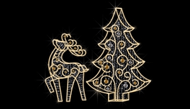 Композиция Кружевной олень с елкой LED-EM-026