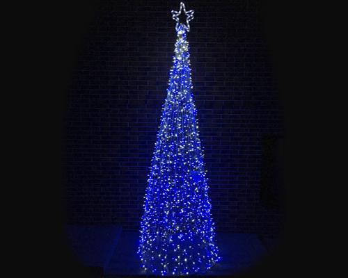 Конусная елка с верхушкой 1,5 м синя-белая