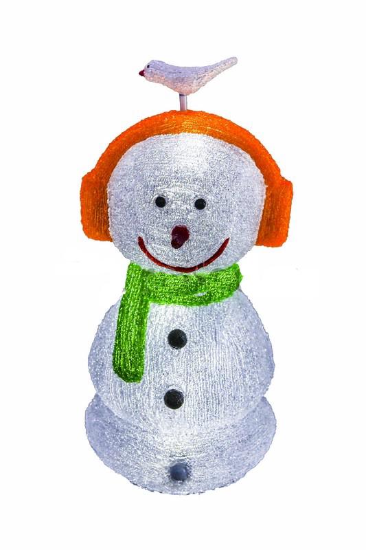 Снеговик в наушниках 27х27х60 см