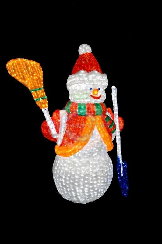 Снеговик с лопатой и метлой 160 см
