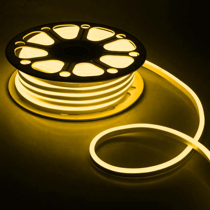 Гибкий неон 8 х 16 мм, 25 м. LED-120-SMD2835, 220 V, ЖЕЛТЫЙ
