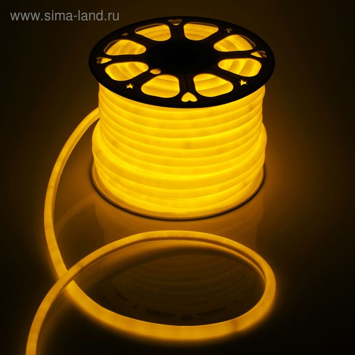 Гибкий неон круглый D 16 мм, 50 м. LED-120-SMD2835, 220 V, ЖЕЛТЫЙ